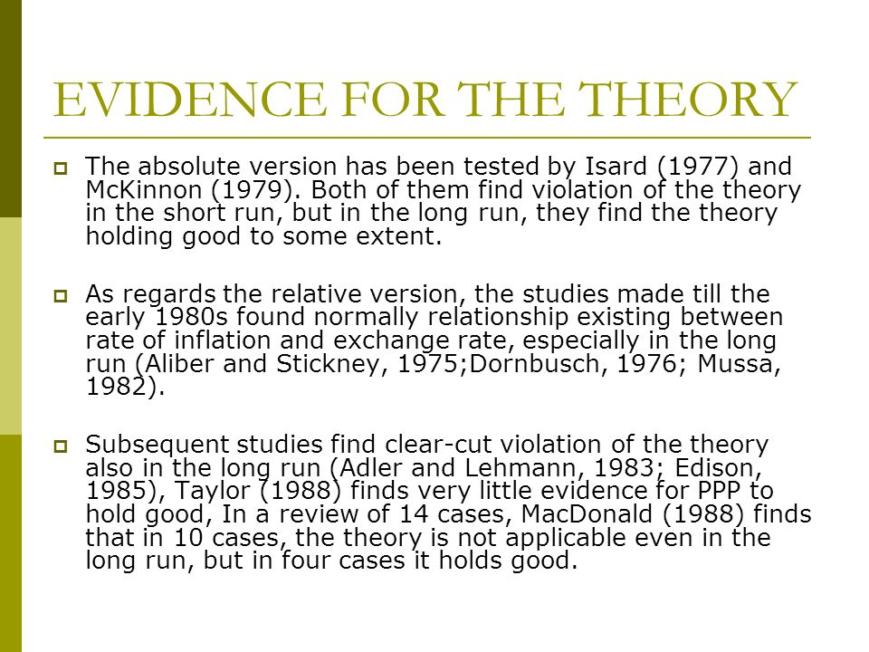 EVIDENCE FOR THE THEORY