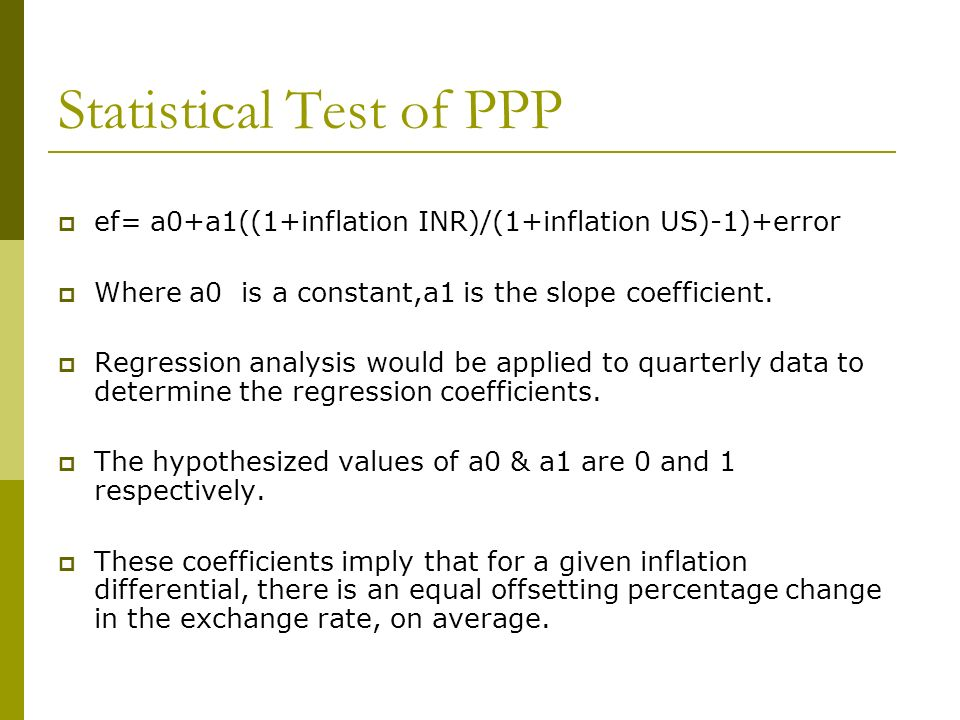 Statistical Test of PPP