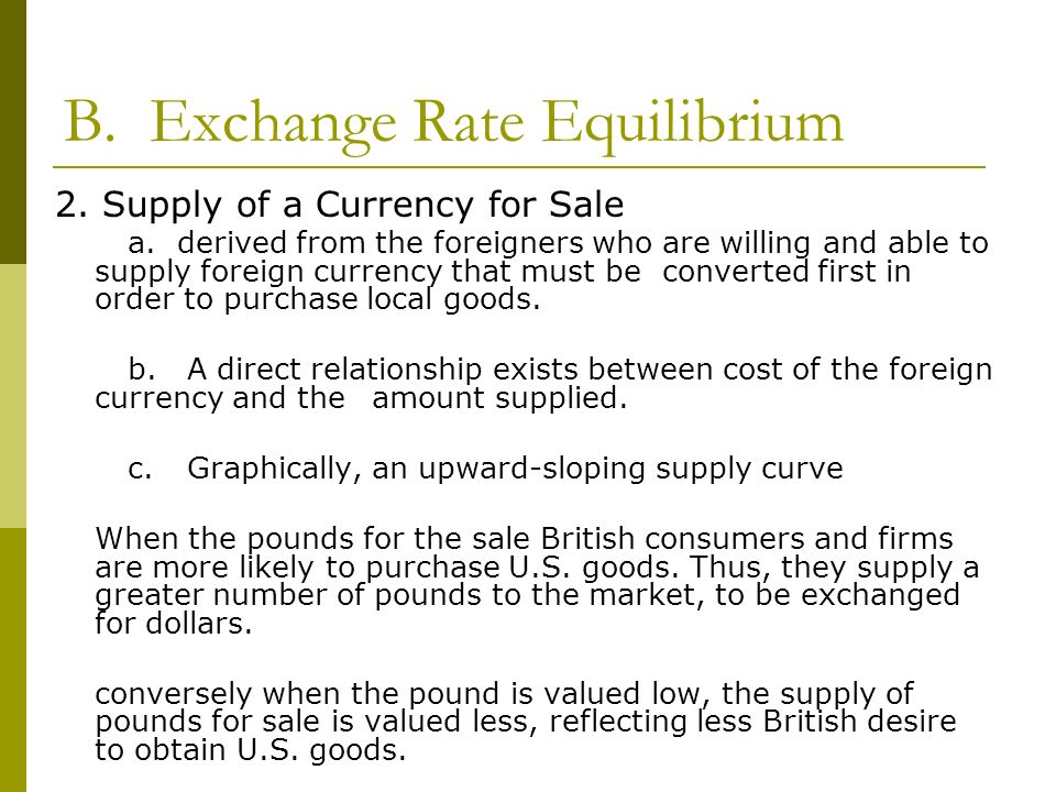 B. Exchange Rate Equilibrium