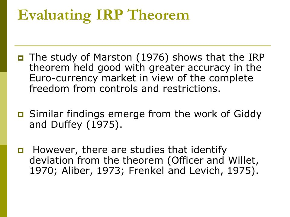 Evaluating IRP Theorem