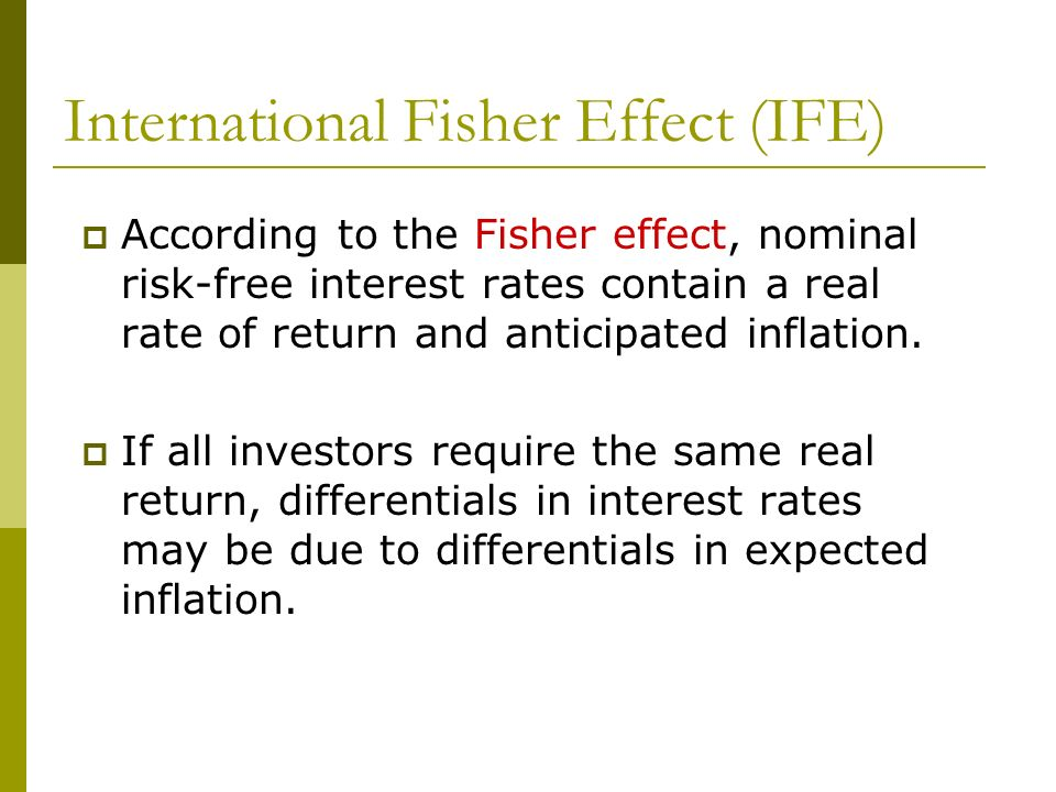 International Fisher Effect (IFE)