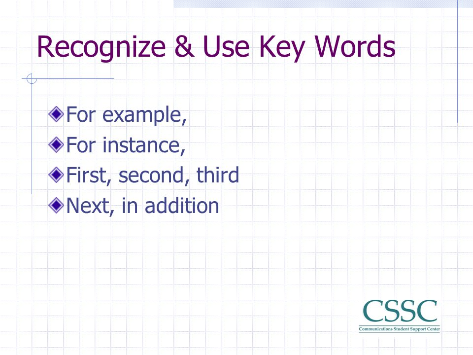Recognize & Use Key Words