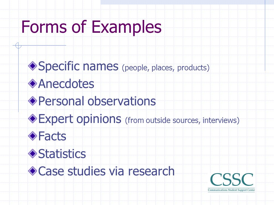 Forms of Examples Specific names (people, places, products) Anecdotes