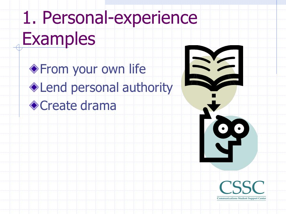 1. Personal-experience Examples