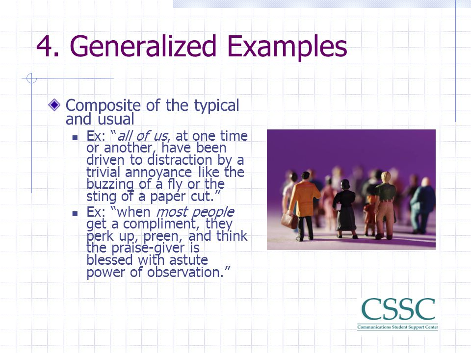4. Generalized Examples Composite of the typical and usual
