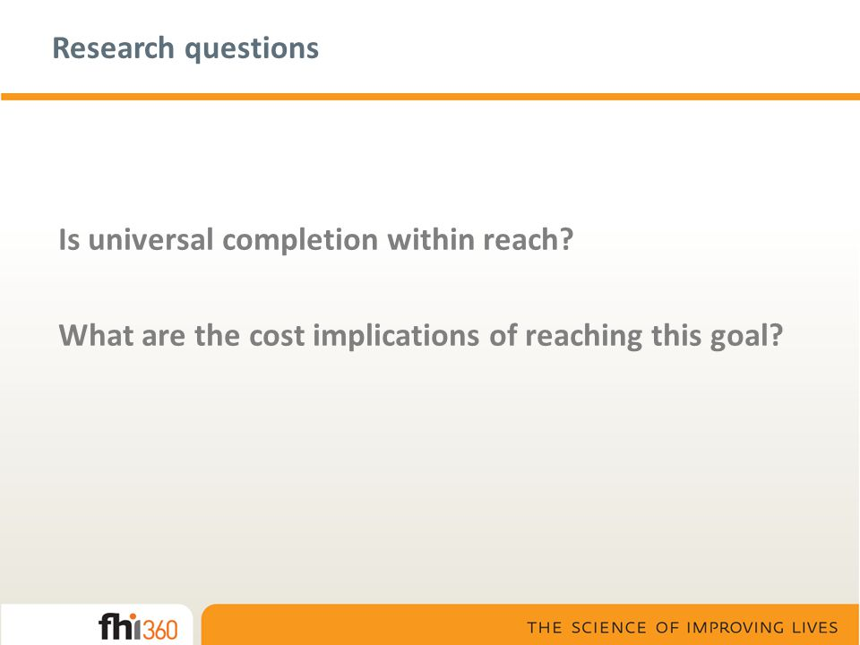 Research questions Is universal completion within reach.