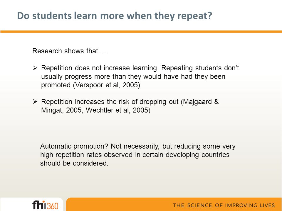 Do students learn more when they repeat