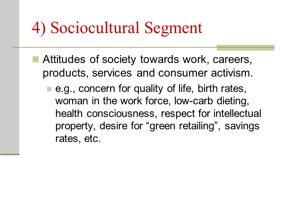 4) Sociocultural Segment