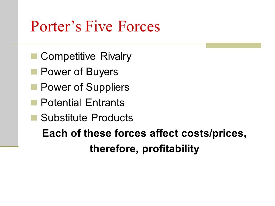 Each of these forces affect costs/prices, therefore, profitability
