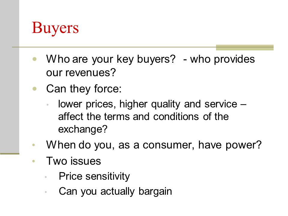 Buyers Who are your key buyers - who provides our revenues