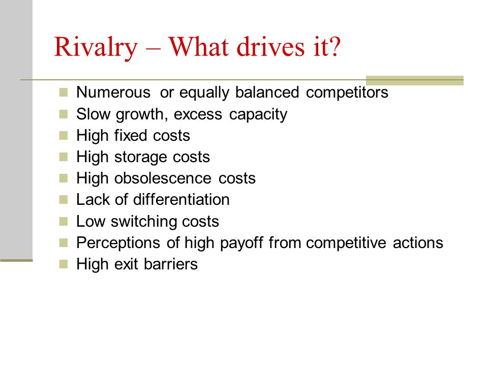 Rivalry – What drives it