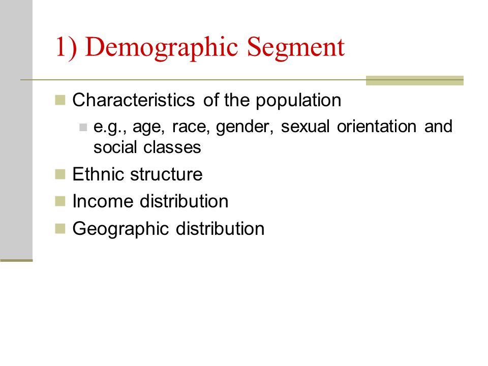 1) Demographic Segment Characteristics of the population