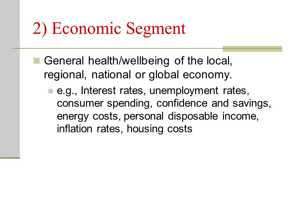 2) Economic Segment General health/wellbeing of the local, regional, national or global economy.