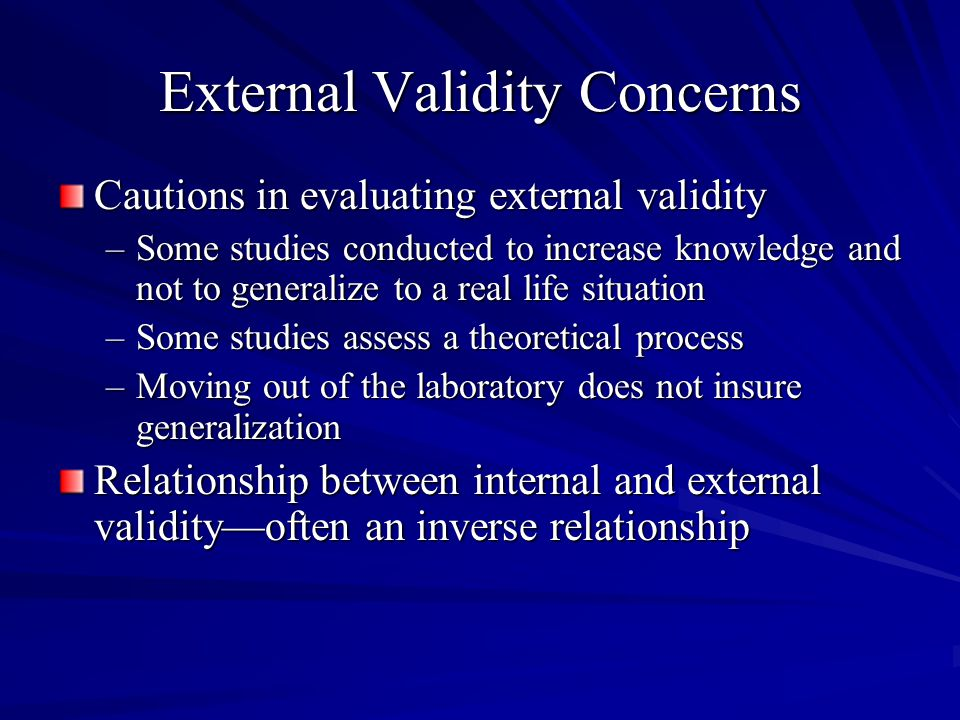 External Validity Concerns