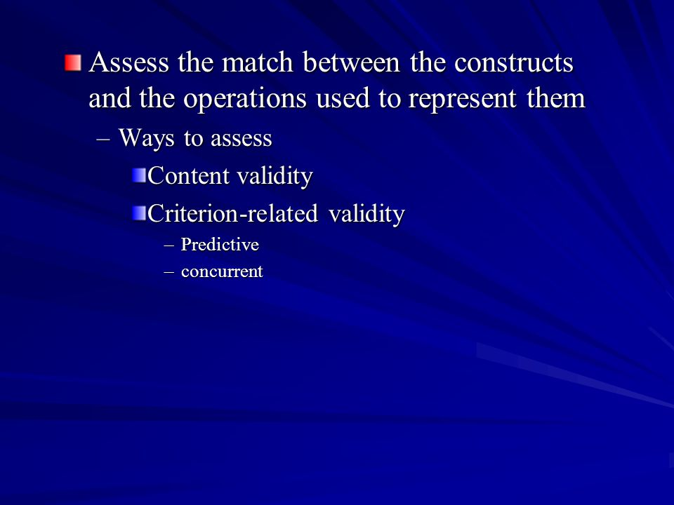 Assess the match between the constructs and the operations used to represent them