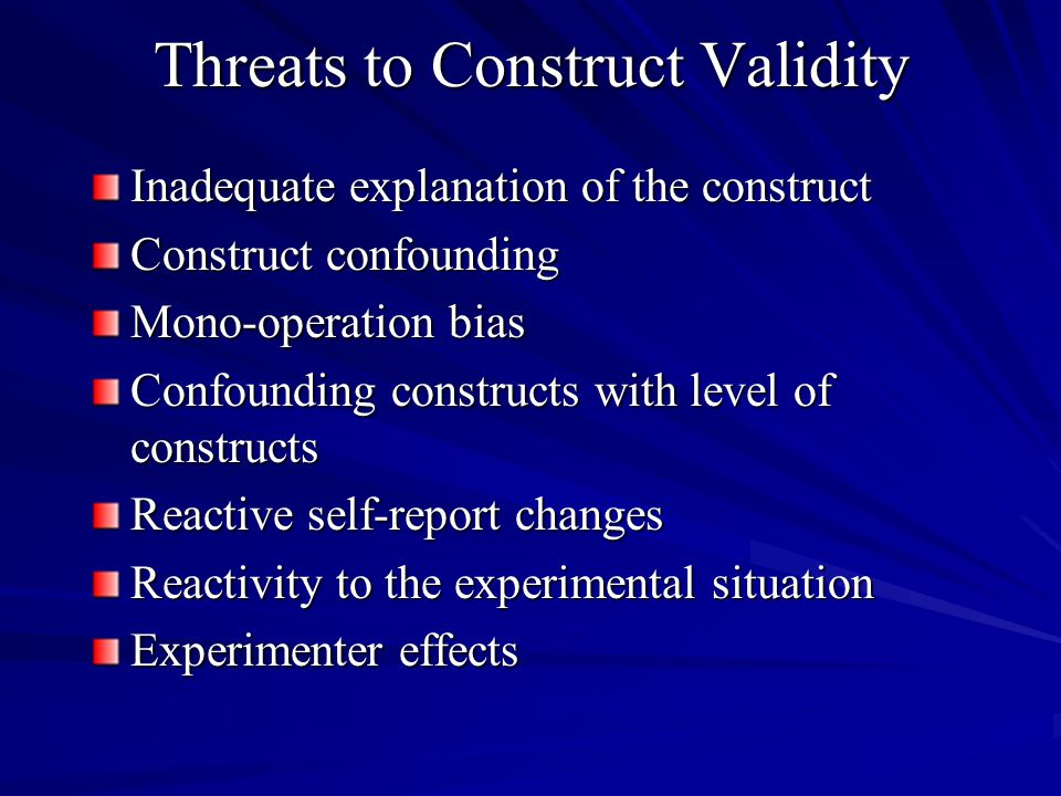 Threats to Construct Validity