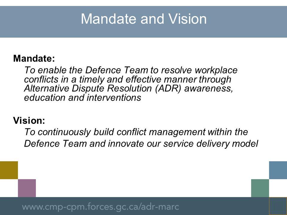 Mandate and Vision Mandate: