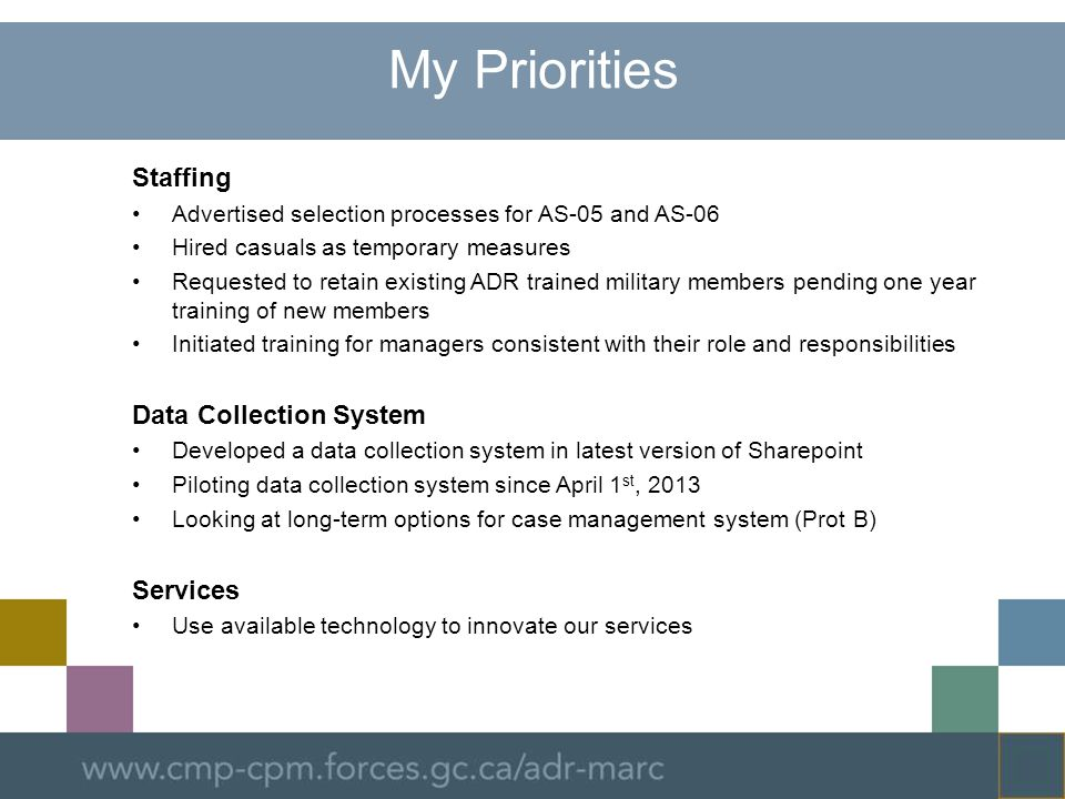 My Priorities Staffing Data Collection System Services