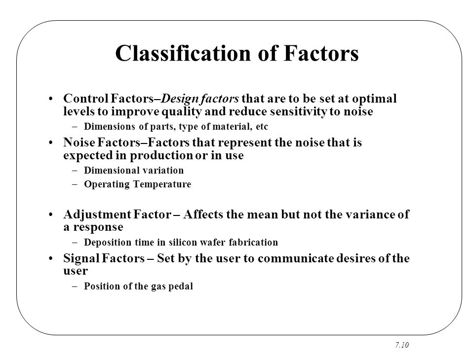 Classification of Factors