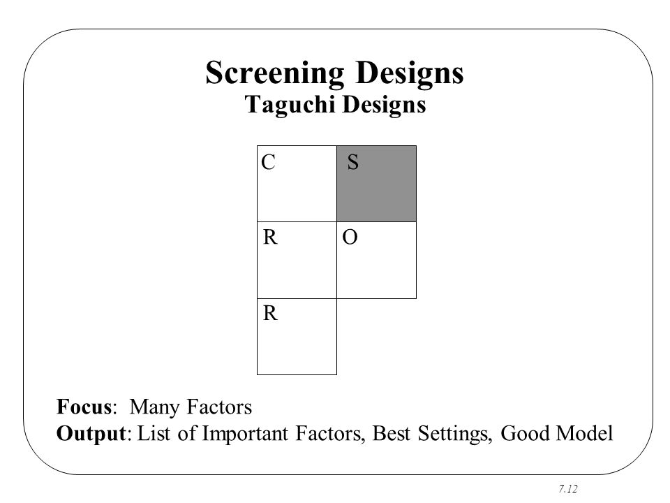 Screening Designs Taguchi Designs