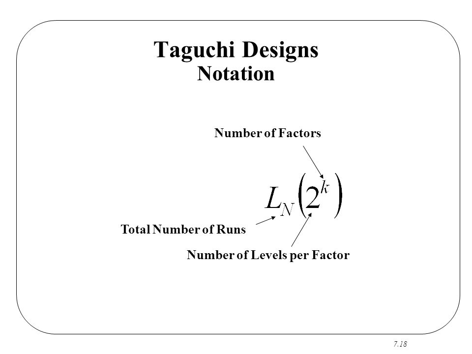 Taguchi Designs Notation