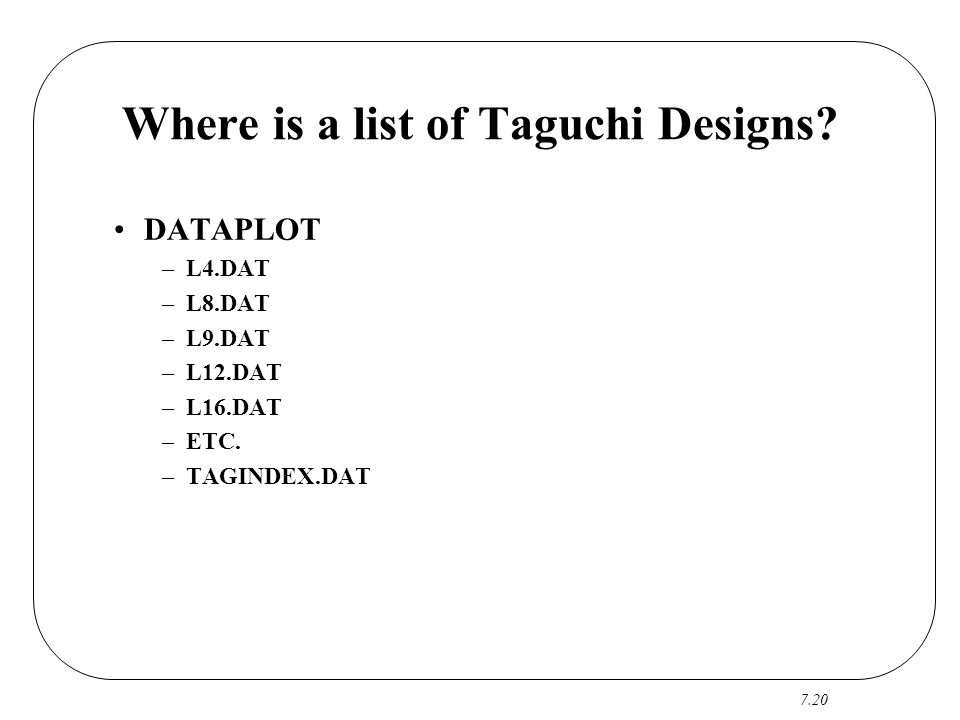 Where is a list of Taguchi Designs