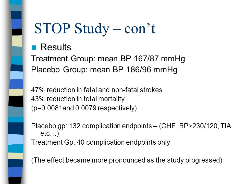 STOP Study – con't Results Treatment Group: mean BP 167/87 mmHg