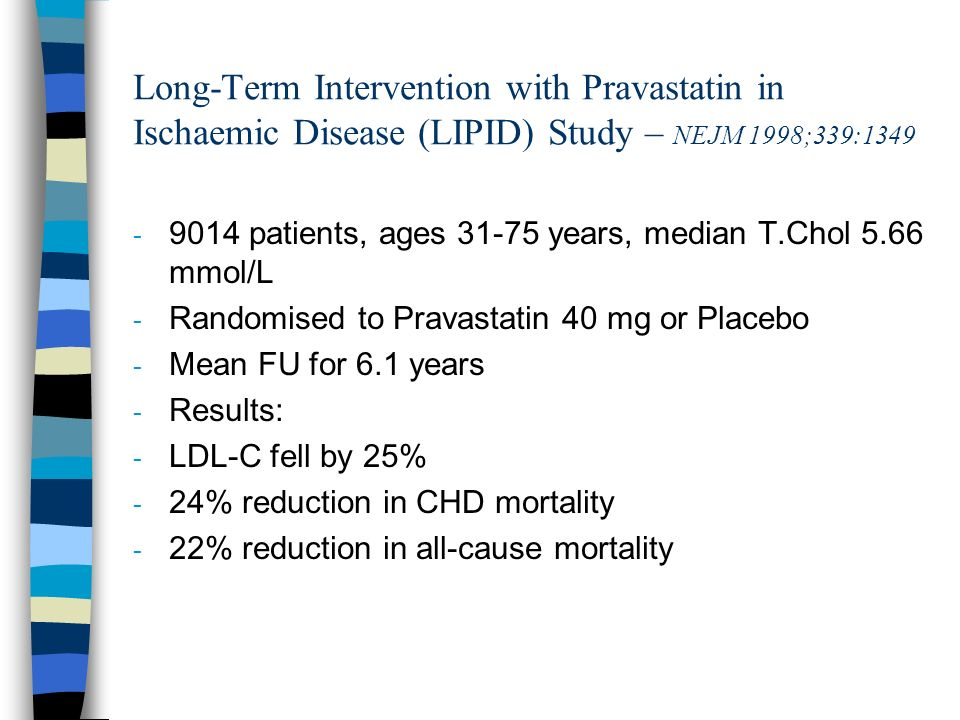 Long-Term Intervention with Pravastatin in Ischaemic Disease (LIPID) Study – NEJM 1998;339:1349