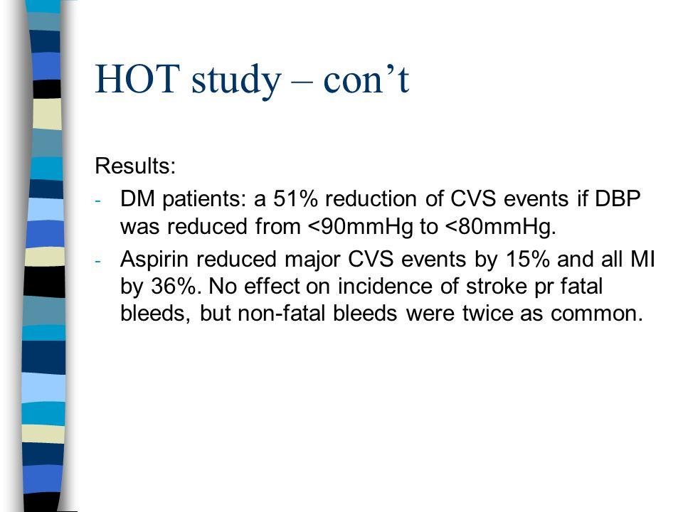 HOT study – con't Results: