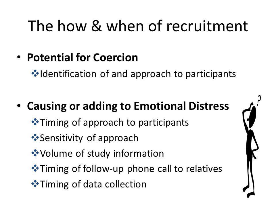 The how & when of recruitment