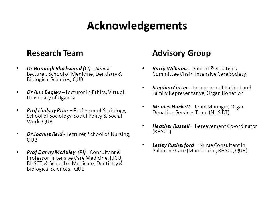 Acknowledgements Research Team Advisory Group