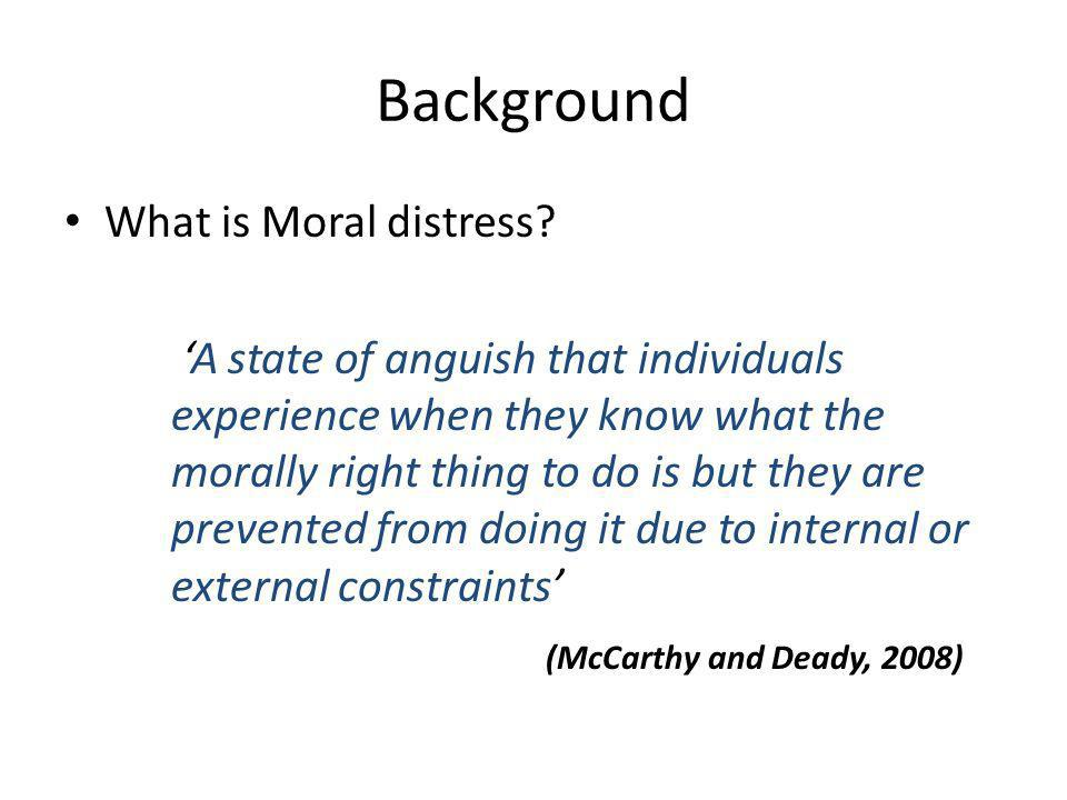 Background What is Moral distress