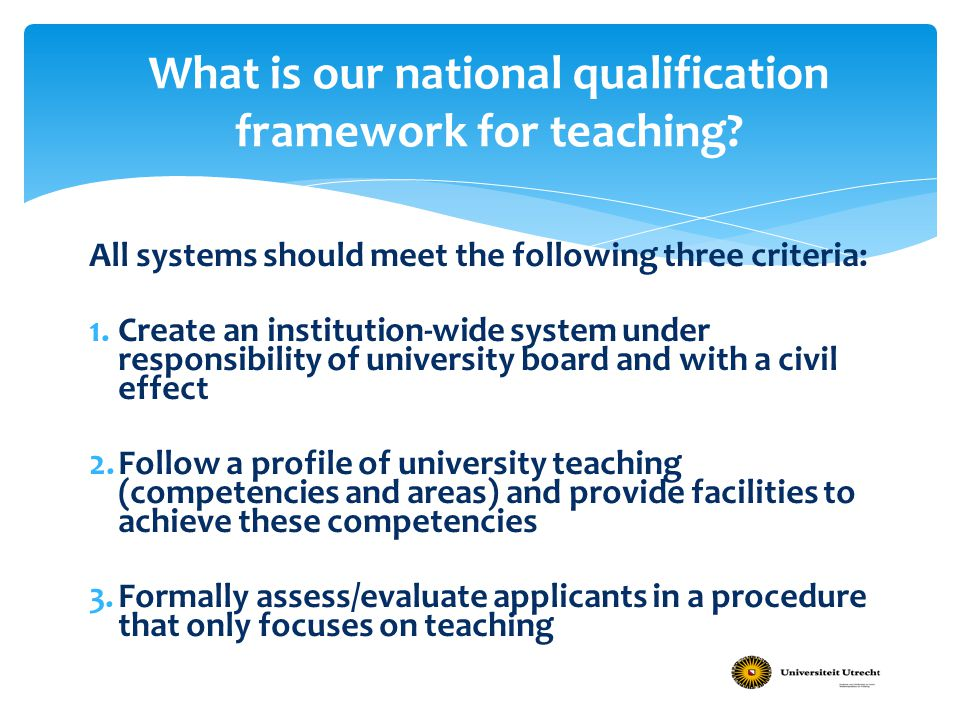 What is our national qualification framework for teaching