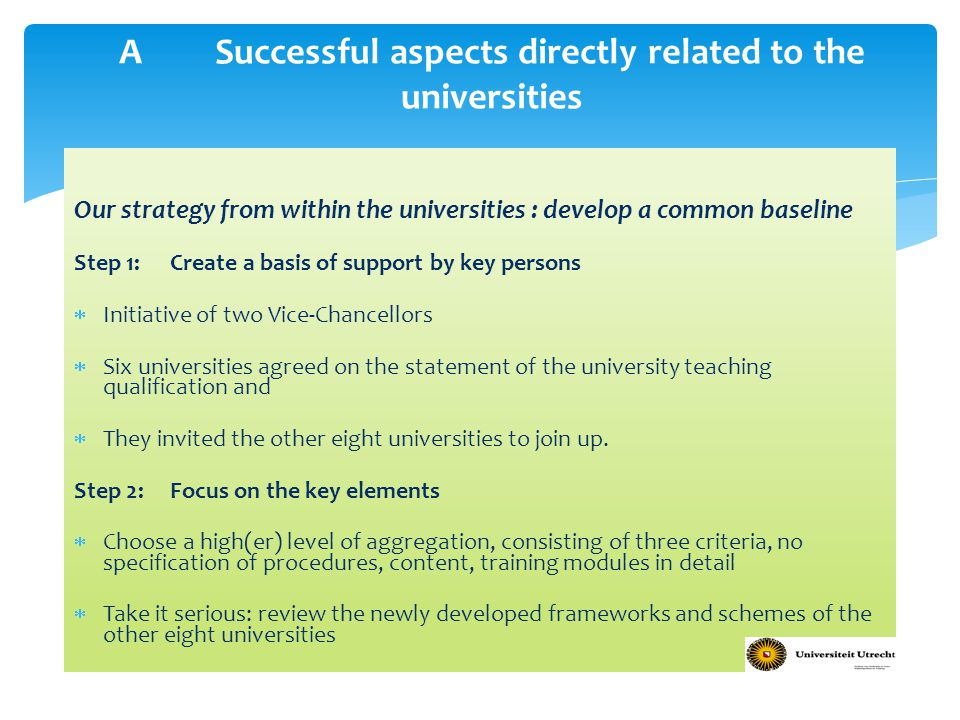 A Successful aspects directly related to the universities