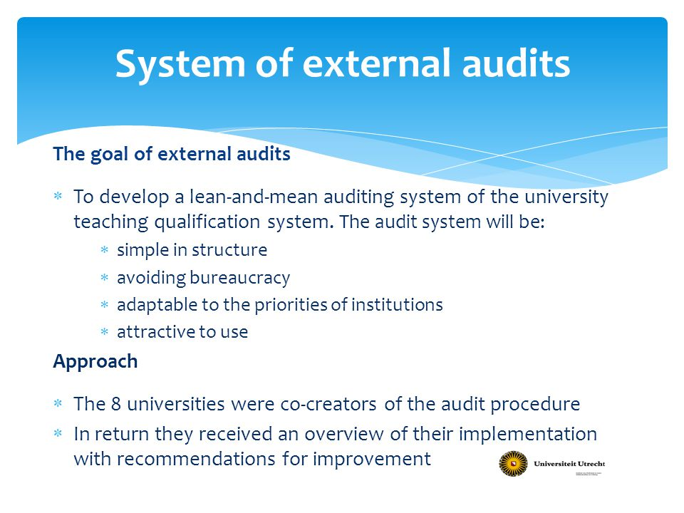System of external audits