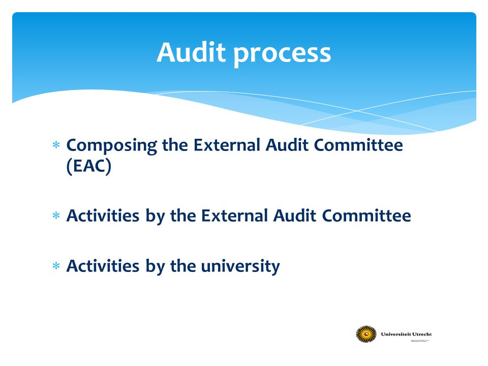 Audit process Composing the External Audit Committee (EAC)