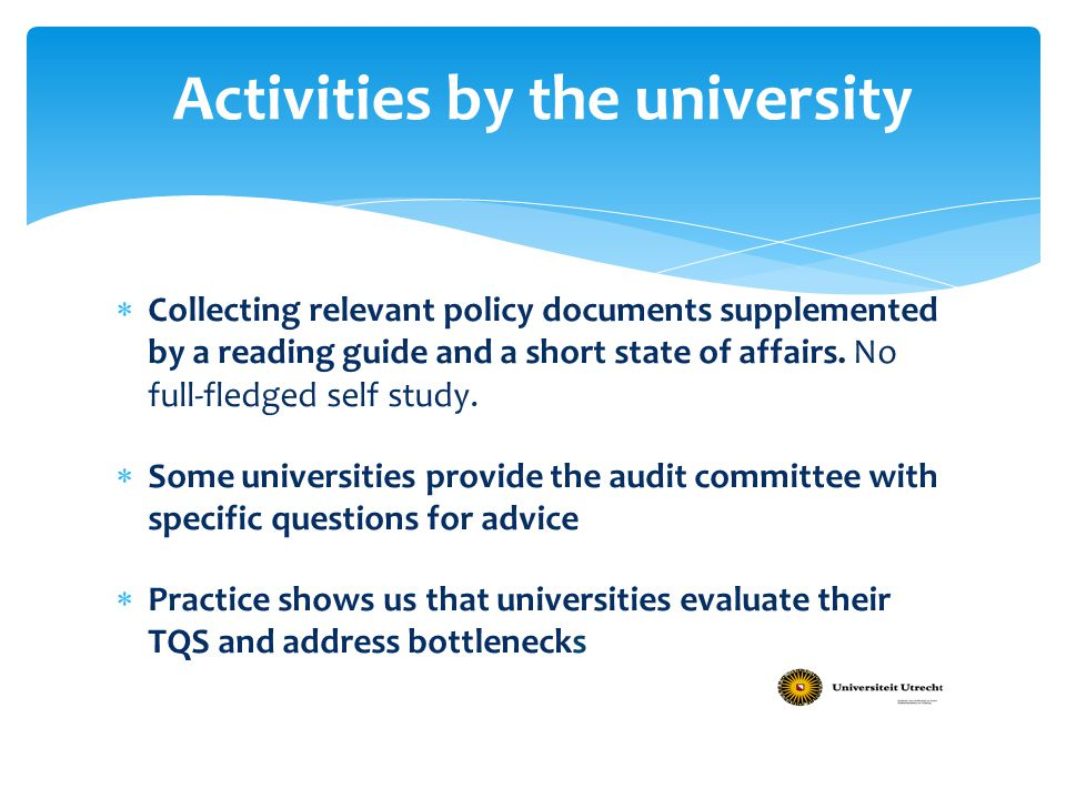 Activities by the university
