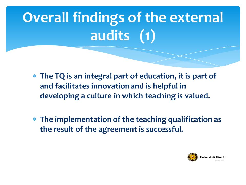Overall findings of the external audits (1)
