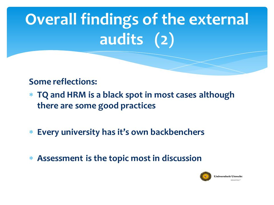 Overall findings of the external audits (2)