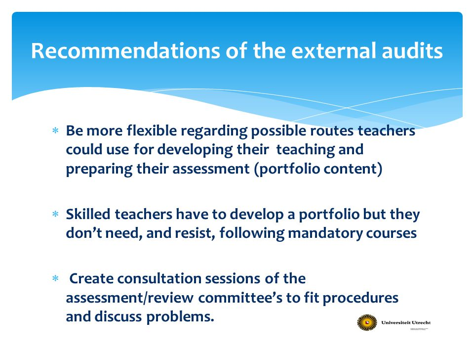Recommendations of the external audits