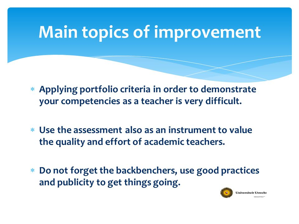 Main topics of improvement