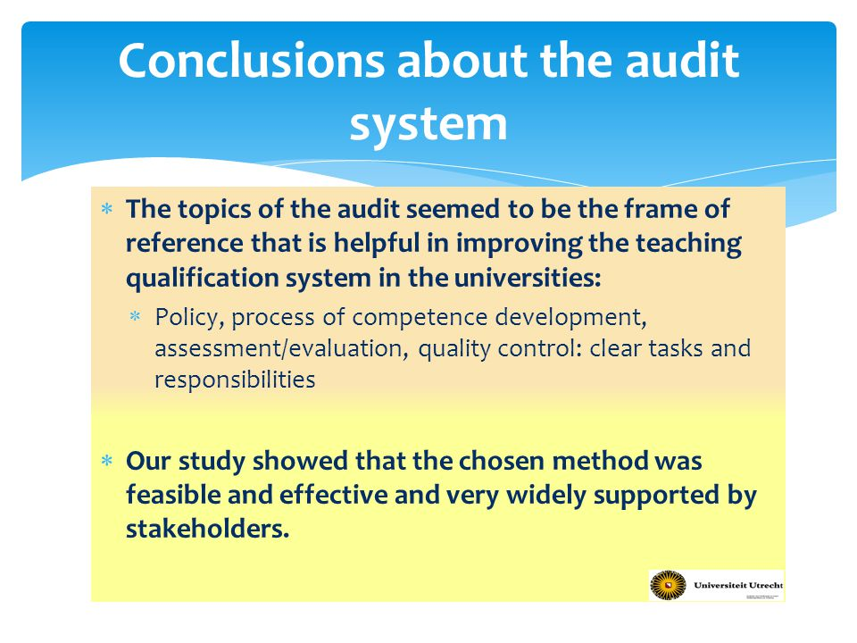 Conclusions about the audit system