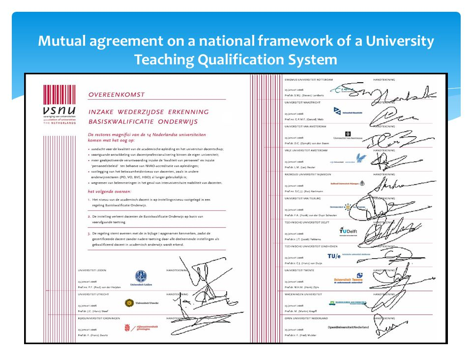 Mutual agreement on a national framework of a University Teaching Qualification System