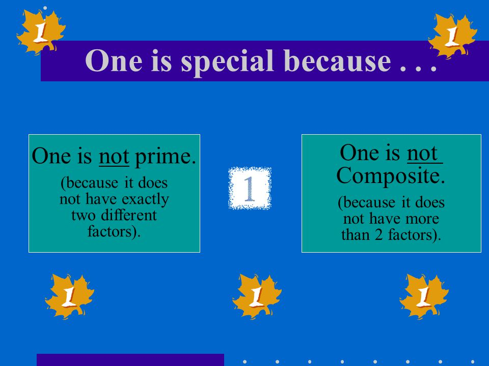 One is special because . . . One is not prime. One is not Composite.