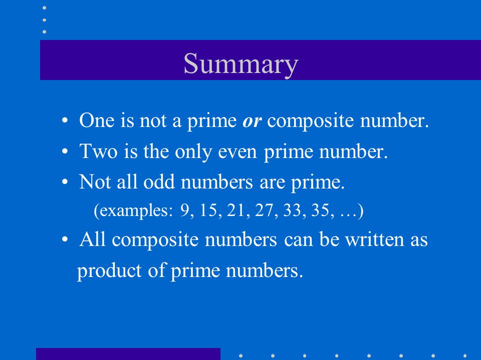Summary One is not a prime or composite number.