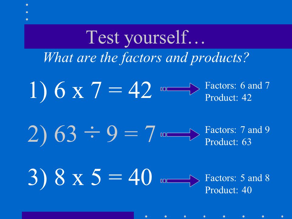 Test yourself… What are the factors and products