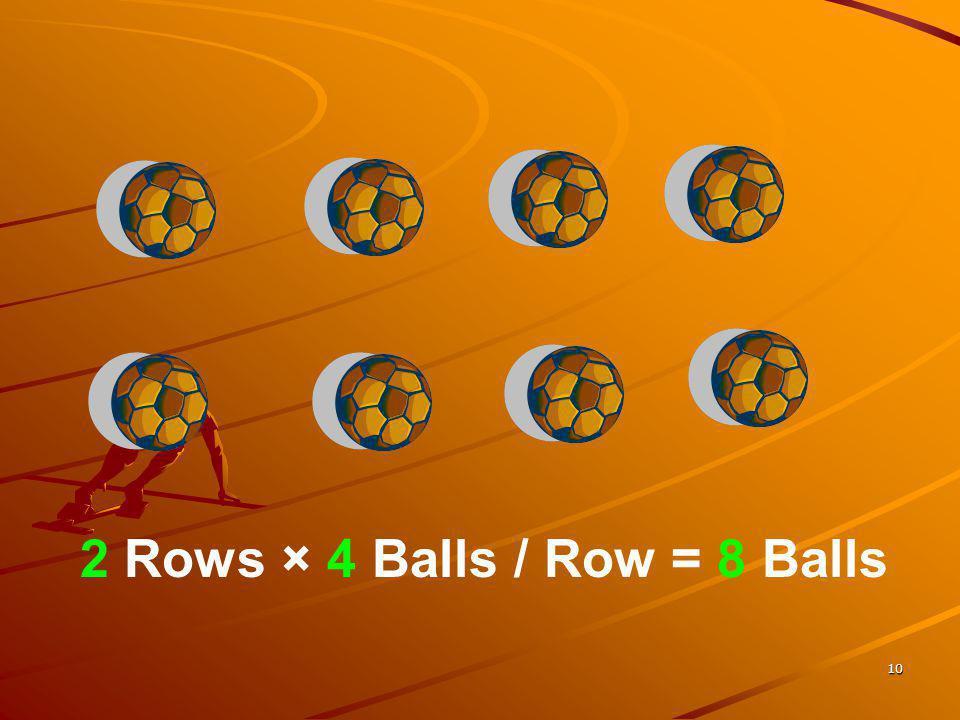 2 Rows × 4 Balls / Row = 8 Balls