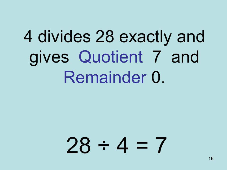 4 divides 28 exactly and gives Quotient 7 and Remainder 0.
