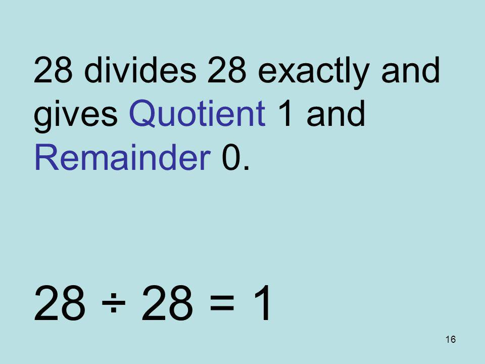 28 divides 28 exactly and gives Quotient 1 and Remainder 0.