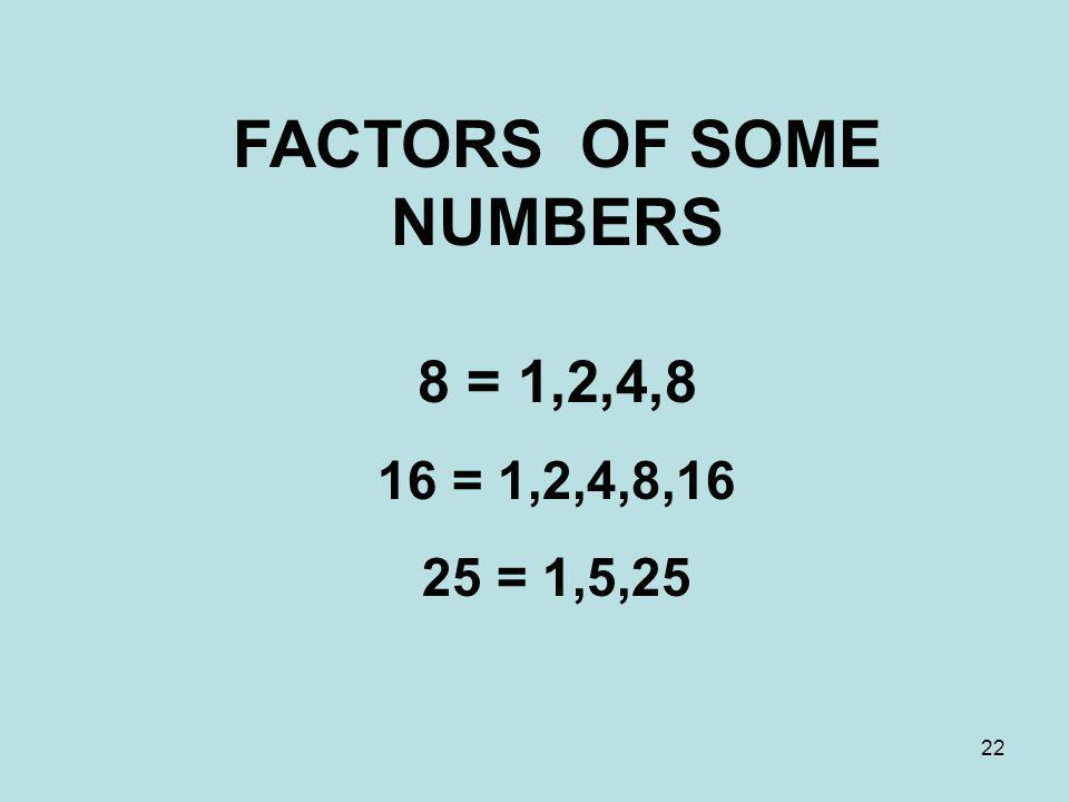 FACTORS OF SOME NUMBERS